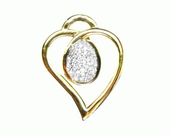 gold heart  diamond pendant  18k white gold