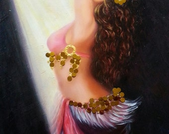 Belly Dancer, Oil and mixed media on Canvas, Middle Eastern, Ethnic