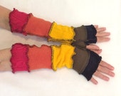 Upcycled Fingerless Gloves Rainbow Armwarmers Recycled Wrist warmers Stripe Gloves Knit Gloves Fingerless Mittens Colorful Size Small  S