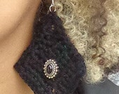 Earrings, Crochet Earrings, Dramatic Earrings, Black Earrings, Jewelry, Crochet Earrings With Beads, Crochet, Beads, Dangle Earrings