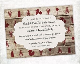 Printable Digital File - Crawfish Boil Baby Shower Invitation - Customizable - Wood, Rustic, Crayfish, Seafood, Low Country, Cajun, Southern