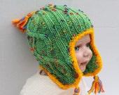 Multicolor earflap hat.
