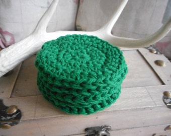 Pure Cotton Crochet Round Facial Wash. Baby cloths. Handmade EVERGREEN Green Set / 5. Face Cloths Scrubbies, Baby Shower Gift Bath Acessory