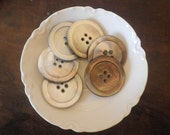 Vintage Smoked Pearl Coat Buttons Hand Carved Seashell Irridescent (6)