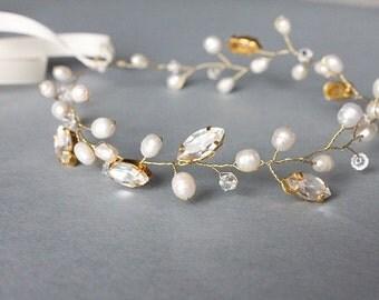 Bridal wedding pearl rhinestone tiara, headband, headpiece, fascinator, swarovski