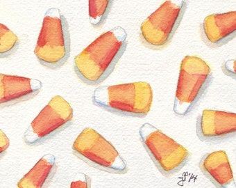 Candy Corn Watercolor Painting Print - Halloween Art - Orange Yellow and White Food Illustration, 5x7 Print