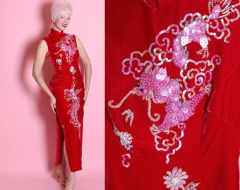"STUNNING 1960's Extreme Hourglass Lipstick Red Silk Velvet Cheongsam ""Suzy Wong"" Evening Gown w/ Hand Beaded Huge Dragon & Phoenix Bird - M"