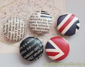 Leather Fabric Covered Buttons (L) - Stylish Union Jack Newspaper Letter Poem (5Pcs, 0.98 Inch)