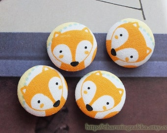 Fabric Covered Buttons (M) - Lovely Forest Orange Fox (4Pcs, 0.87 Inch)