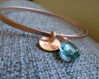 Personalized rose gold bangles, set of 2 rose gold initial bracelet, thin stackable bangles