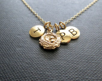 three bird nest necklace, personalized jewelry, initial necklace, gift for mother of three, mothers necklace bird nest charm family necklace