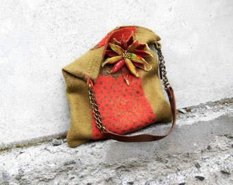 Felt Wool Tote and Pin felt brooch '' In fall colors'',One of kind Felted handbag,handmade, OOAK Ready to Ship