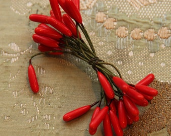 Antique French vintage bundle red  millinery  stamen  flower ribbonwork projects