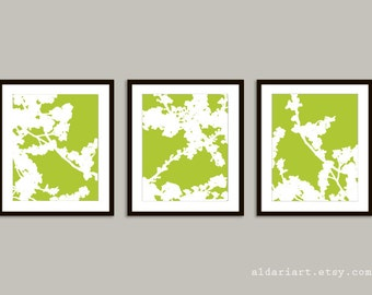 Cherry Blossoms Art Prints -  Cherry Blossom Wall Art  - Cherry Blossom Triptych Art - Green Flower Art - Spring Blossoms Art - Modern Decor