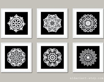 Mandala Art Prints - Mandala Wall Art - Mandala Art - Modern Decor - 5x5 - Modern Medallion Wall Art - Black and White Decor - Aldari Art
