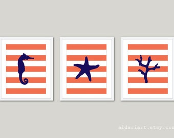 Nautical Prints Seahorse Starfish Coral Wall Art - Stripes - Coral Navy Blue - Beach House Decor - Modern Prints