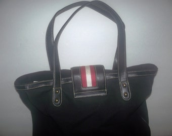 vintage hand bag leather with red and white strips