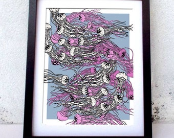 A4 Jellyfish graphic print
