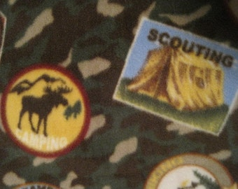 Boy Scout Badges with Red Fleece Blanket - Ready to Ship Now