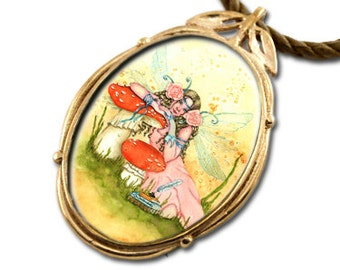 Book Fairy Bronze Art Pendant