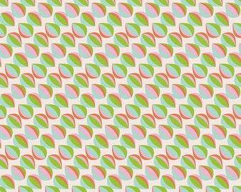 Green Pink and Aqua Geometric Circle Cats Eye Cotton, Petal and Plume By Bari J For Art Gallery Fabrics, Drawn Mist Fresa PEP-58203, 1 Yard