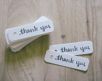 THANK YOU TAGS, black, set of 10 - handmade, hand stamped, rounded edges, thick cardstock, watercolor paper, hole punched, calligraphy