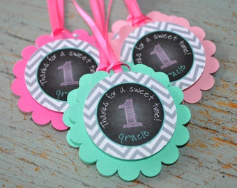 1st Birthday Favor Tags - Girls 1st Birthday Decorations - Chalkboard with Gray Chevron - Pink & Mint Green - Set of 12