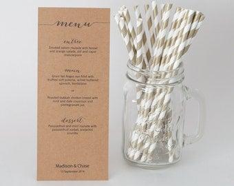 Personalised Wedding TABLE MENUS |  Engagement Beverage Rustic Minimalist Typography Calligraphy