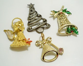 Lot of 4 vintage Christmas jewelry - Destash Lot - cheesegrits