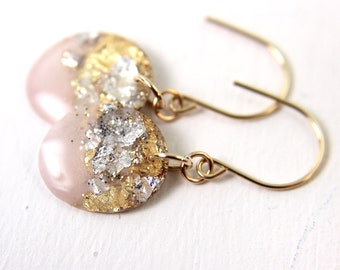 pink glitter resin earrings with gold leaf silver leaf, glitter earrings, light pink earrings, gold leaf earrings, pink drop earrings