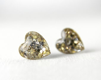 silver and gold glitter earrings, glitter resin posts, sterling silver post earrings, nickel free posts, valentine's day gift, love
