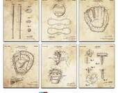 Baseball Blueprint Patent Six Panel Canvas Giclee  - 36x30