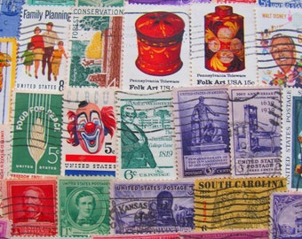 Antiques Roadshow 100 Vintage US Postage Stamps Americana Collage Old Fashioned Philately Civil Rights Revolutionary War Midwest Dustbowl