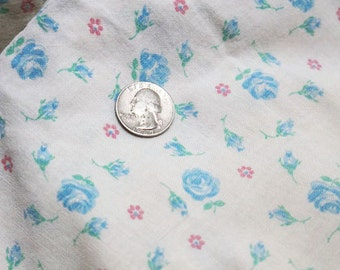 Vintage Fabric, Cotton Sack Cloth, Pillow Case Blue Roses