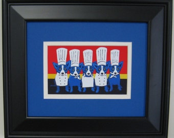 George Rodrigue HEAT in the KITCHEN postcard - BLACK frame - 13.5 in x 11.5 in