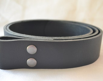Handmade Black Leather  Snap Belt