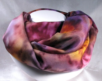 Scarf, Silk Scarf, Hand Painted Silk Scarf - purple, copper, raspberry - Quintessence Silk - Vineyard Splendor