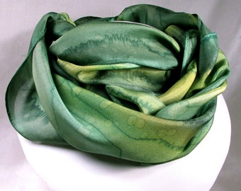 Green Scarf, Hand Painted Silk Scarf - Quintessence Silk - Emerald Rain