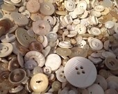 Vintage Buttons Grab Bag, 200 in White, Cream, Ivory Plastic, Different Sizes and Styles, For Assemblage, Scrapbooks and Crafts