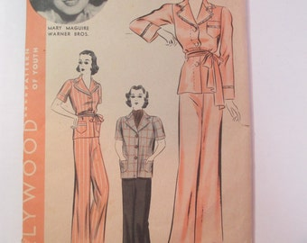 """Antique 1930's Hollywood Dress Pattern #1481 - size 34"""" Bust"""