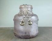 Topaz gemstone drops wire wrapped  fine silver rings hoops