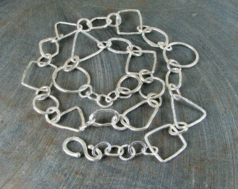 Geo shapes fine silver hand made shapes hammered textured organic silver necklace