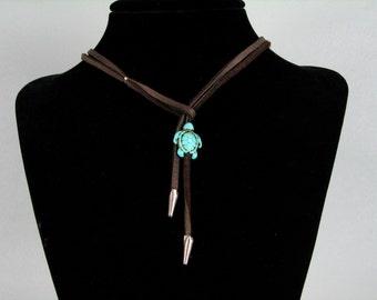 Turquoise  aqua turtle brown leather lariat necklace