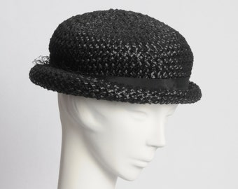 1950's Black Straw Hat with Ribbon Bow