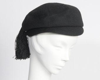 1950's Black Tassel Hat Newsboy