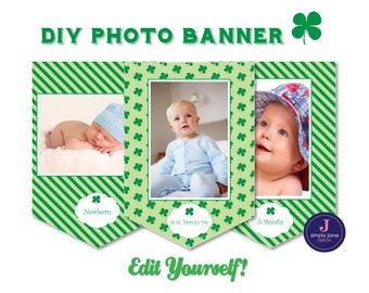 St. Patrick'S Day Party Printable Photo Banner - Month-by-month, baby, first birthday, editable text, instant download, baby photo banner