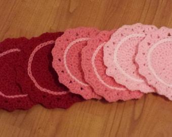 Set of 6 Ombre Crochet Coasters