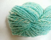 "Yarn Aqua Handspun Bulky Hand Dyed  Babydoll Southdown Wool 58 Yds (more avail) Knitting Supplies Crochet Doll Hair  "" Island Breeze """