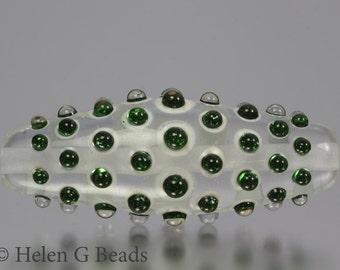 Bumpy, Lampwork Bicone Bead in Green Sparkle  by Helen Gorick