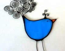 Stained glass BIRD, ornament, suncatcher, BLUE
